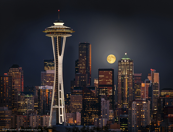 """SEATTLE MOON""  by  MARK FITZGERALD"