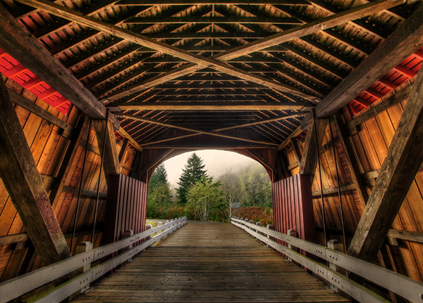 """Fisher School Bridge"" by Ted Crego"